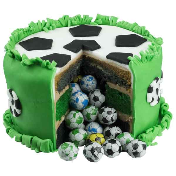 Inside of luxury surprise football handcrafted birthday pinata cake