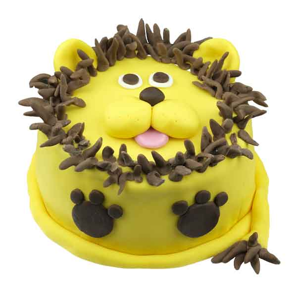 Handcrafted colourful childrens leo the lion birthday cake