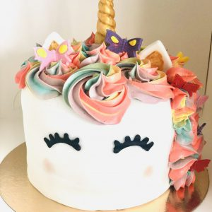 handcrafted childrens colourful unicorn gourmet birthday cake