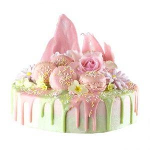 Gourmet pink and green luxury summer celebration cake