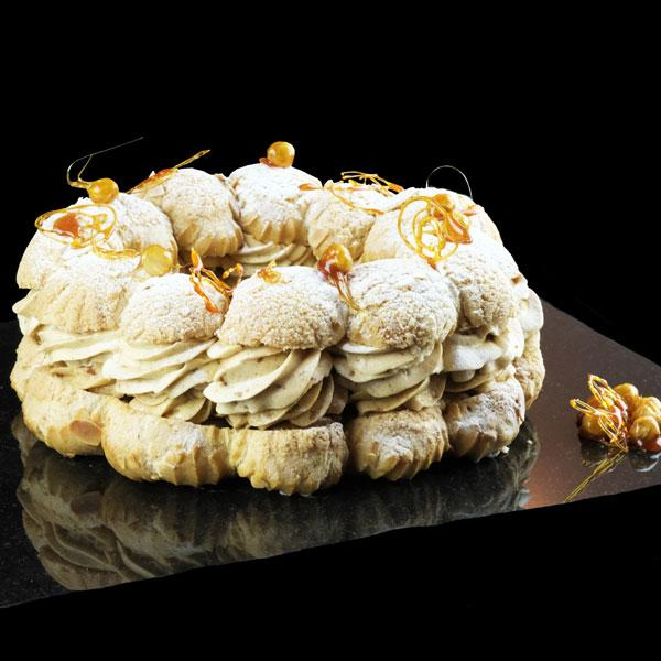 Gourmet handcrafted Paris french brest cake with choux pastry
