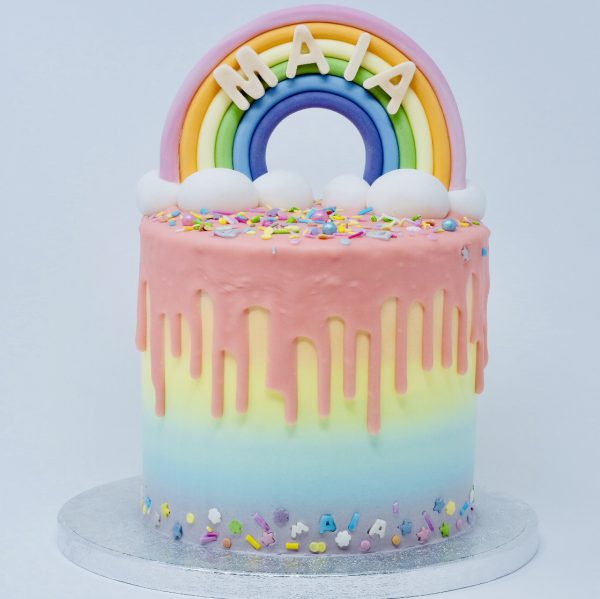 Unique handcrafted colourful birthday cake for children with rainbow topping