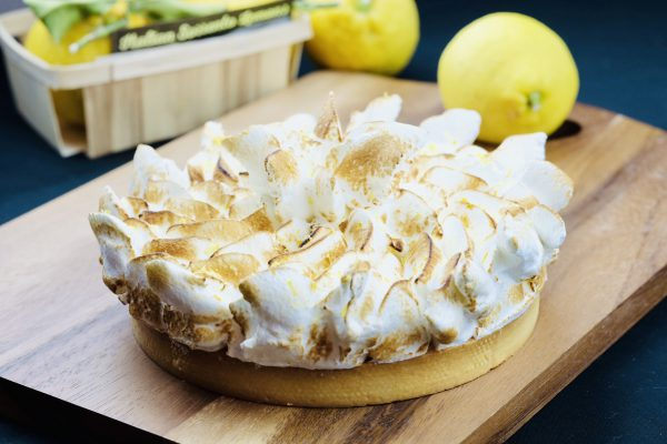 Freshly baked gourmet lemon meringue pie with Italian toasted meringue topping