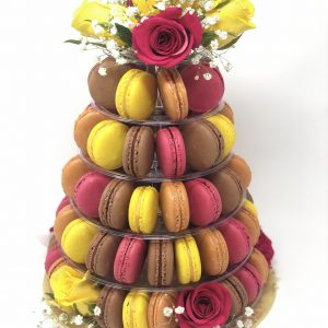 Elegant handcrafted French macaron 5-tier tower