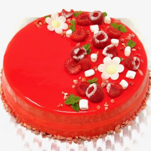 Christmas alternative lemon and strawberry entremet