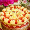 Delicious and light strawberry and vanilla French Fraisier cake
