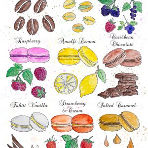 Beautiful, colourful illustration of French macaron and cake ingredients