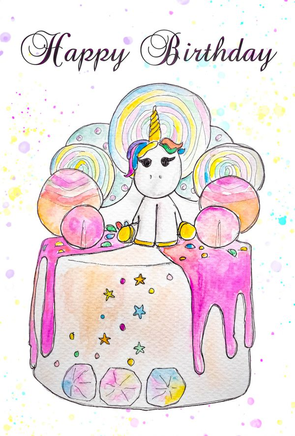 Colourful handmade unicorn card